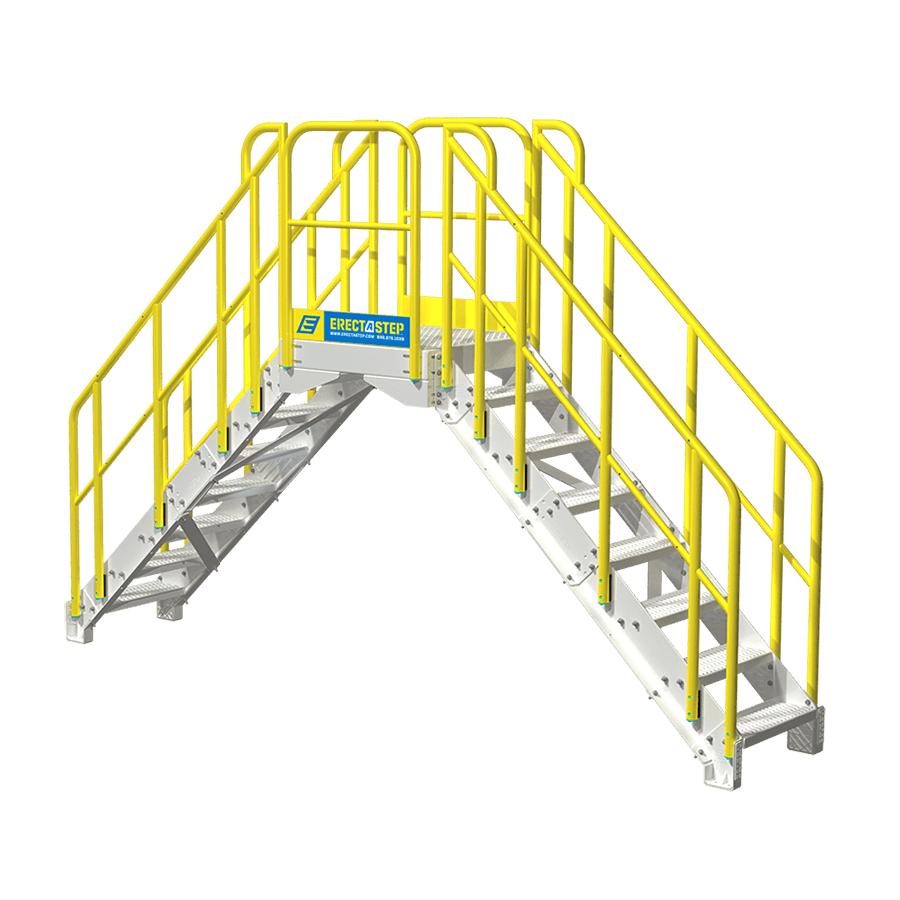Industrial 7 Step Crossover Stairs