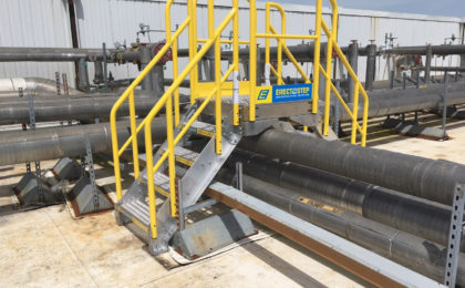 Erectastep 4-step industrial crossover stairs Americold Rooftop Cold Storage
