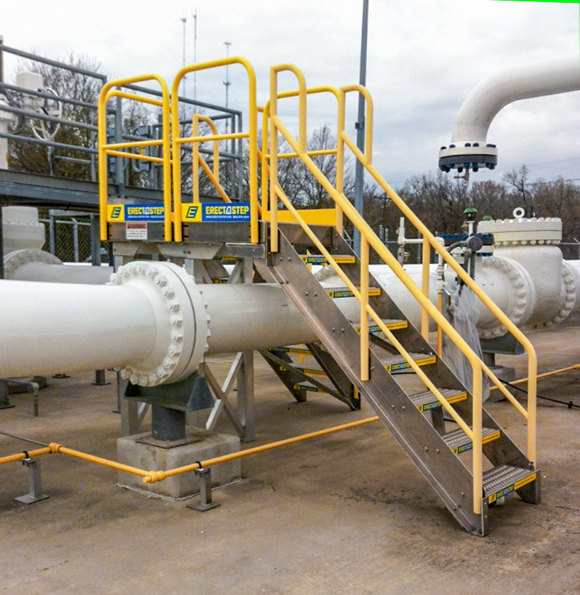 Erectastep 7 step crossover industrial stairs over pipeline outdoors