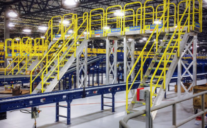 Erectastep MSC Distribution center raised walkway service platform over roller tables