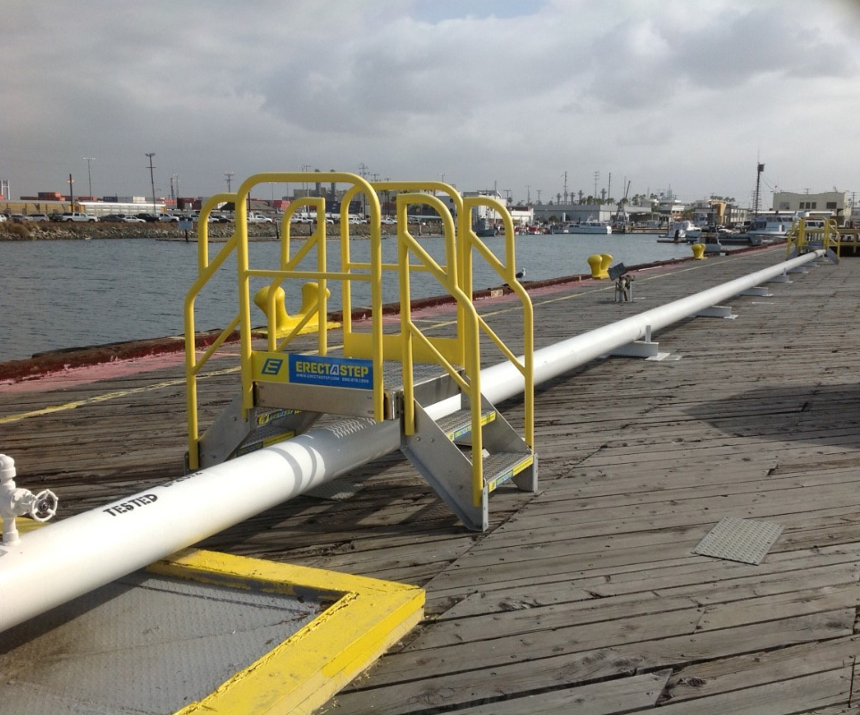 Erectastep Marina Pipe Crossover using industrial stairs