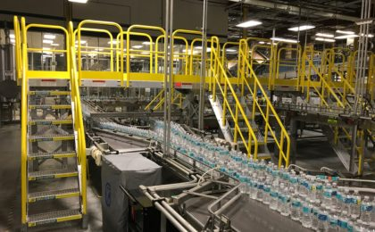Erectastep crossover stairs in water bottling plant