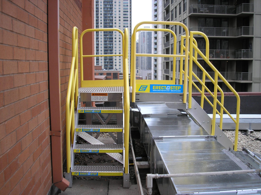 Erectastep rooftop industrial stairs for maintenance over ductwork