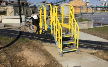 Erectastep crossover stairs over outdoor pipelines