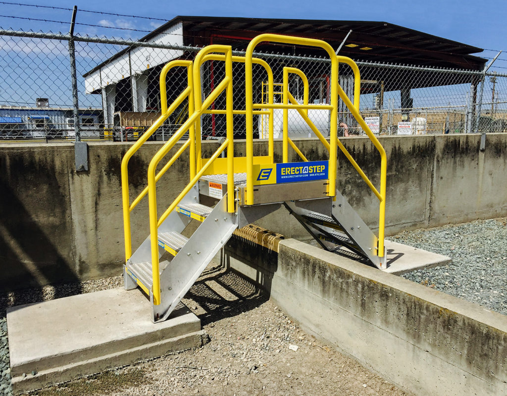 Erectastep Cement berm industrial Crossover stairs at NuStar