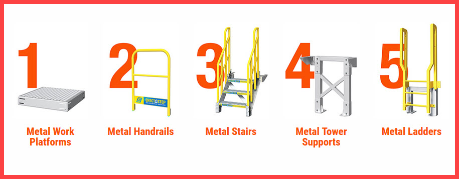 5 piece modular metal stairs system